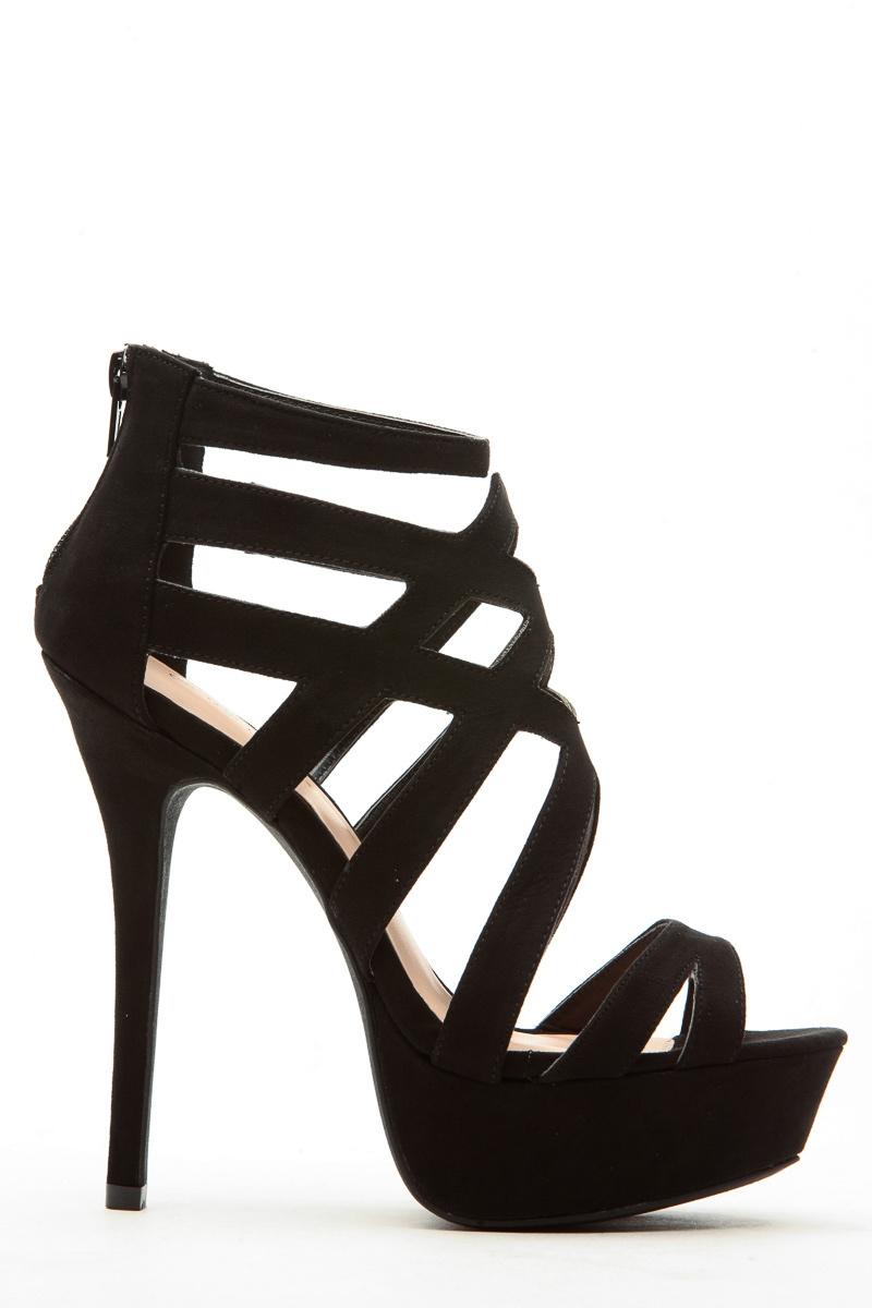 Faux Suede Cross Strap Platform Heels @ Cicihot Heel Shoes online ...