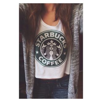 shirt starbucks coffee tank top blouse cardigan shorts coat grey tumblr outfit tumblr cute hollister top t-shirt warm hipster starbucks white shirt