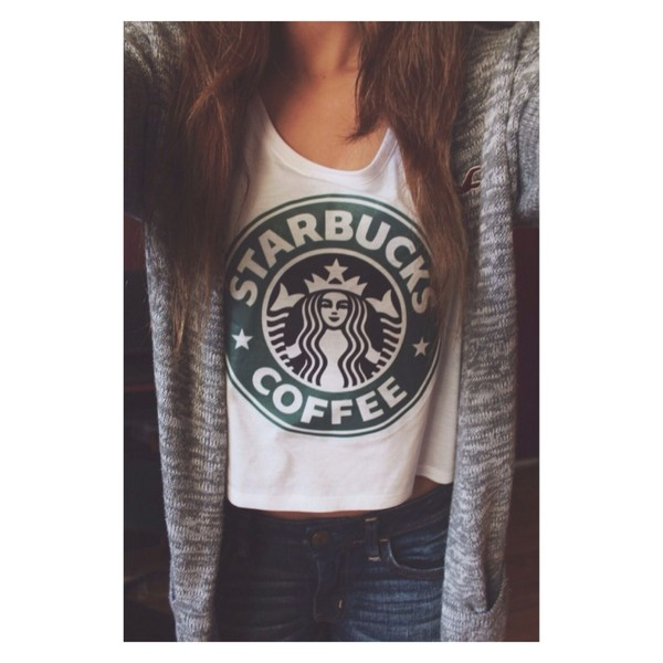 shirt starbucks coffee tank top blouse cardigan shorts coat grey tumblr outfit tumblr cute hollister top t-shirt warm hipster starbucks white shirt starbucks coffee