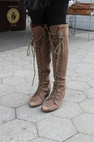 shoes bohemian boots boots lace up over the knee boots knee high boots lace up boots brown boots knee high