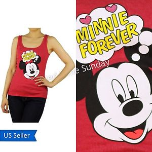 Disney Red Mickey Mouse Love Minnie Forever Color Rib Ribbed Tank Top Junior New