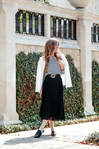 skirt tumblr pleated pleated skirt midi skirt black skirt belt top stripes striped top blazer white blazer shoes black shoes loafers spring outfits work outfits office outfits spring work outfit