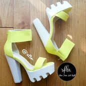 shoes,shoes from last night,yellow,heels,high heels,sandals,summer,summer outfits,style,white,ankle strap heels,platform heels,lug sole,lug