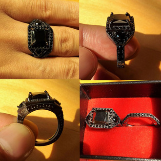 jewels black diamond ring princess cut black diamond ring set engagement ring bridal ring set black wedding ring set