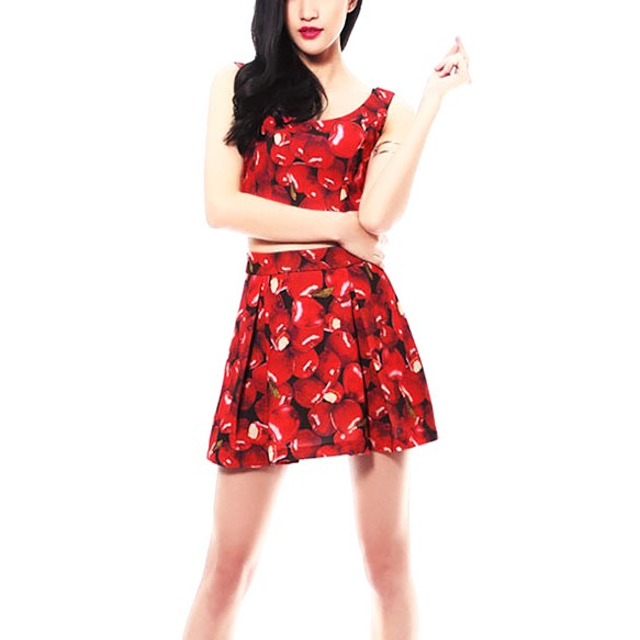 Apples Print Crop & Skirt Two Piece Set at Style Moi