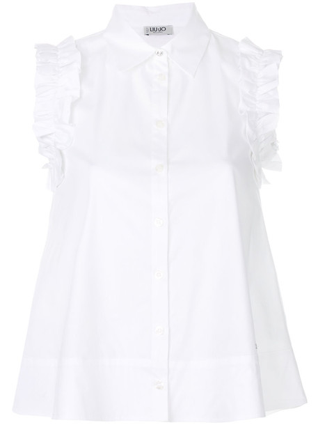 LIU JO blouse sleeveless women spandex white cotton top