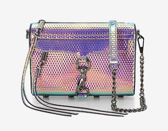 bag iridescent shoulder bag chain bag rebecca minkoff holographic holographic bag