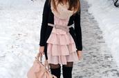 dress,tights,dotted,socks,bag,pink,belt,scarf,cardigan,black,knitwear
