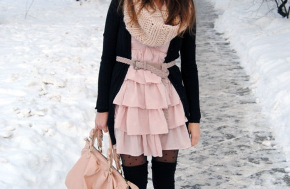 dotted tights dress pink bag black socks belt scarf cardigan knitted