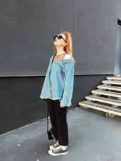 kristina magdalina,blogger,shirt,sunglasses,denim shirt,sneakers,bag,shoes,pants,black pants,converse,spring outfits