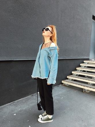 kristina magdalina blogger shirt sunglasses denim shirt sneakers bag shoes pants black pants converse spring outfits