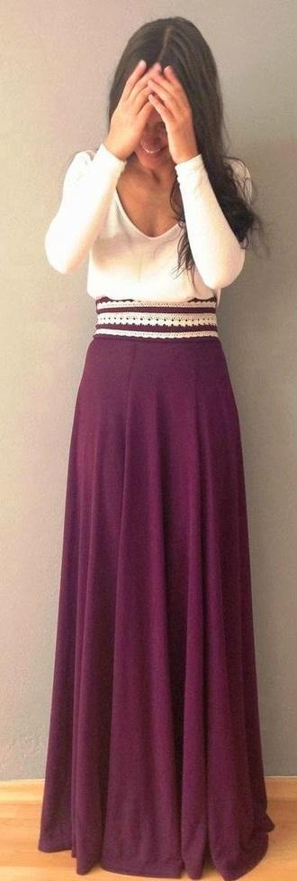 dress white maxi skirt maxi dress lace burgundy flowy dress white top maxi long sleeves belt