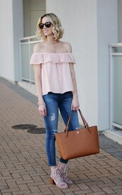 straight a style,blogger,top,bag,shoes,jeans,jewels,sunglasses,off the shoulder top,tote bag,sandals,spring outfits