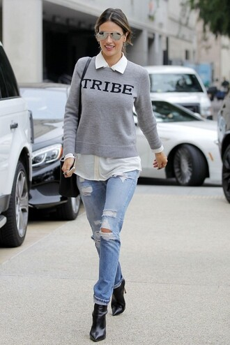 sweater alessandra ambrosio ripped jeans jeans