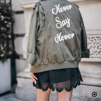 jacket tumblr green jacket dress mini dress black dress quote on it