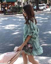 dress,tumblr,mint,mint dress,mini dress,ruffle,ruffle dress