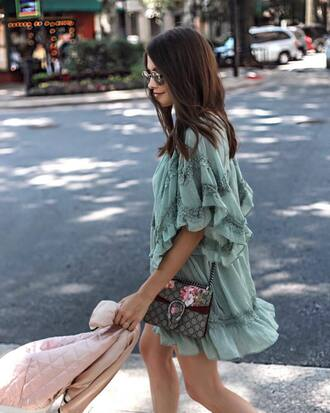 dress tumblr mint mint dress mini dress ruffle ruffle dress