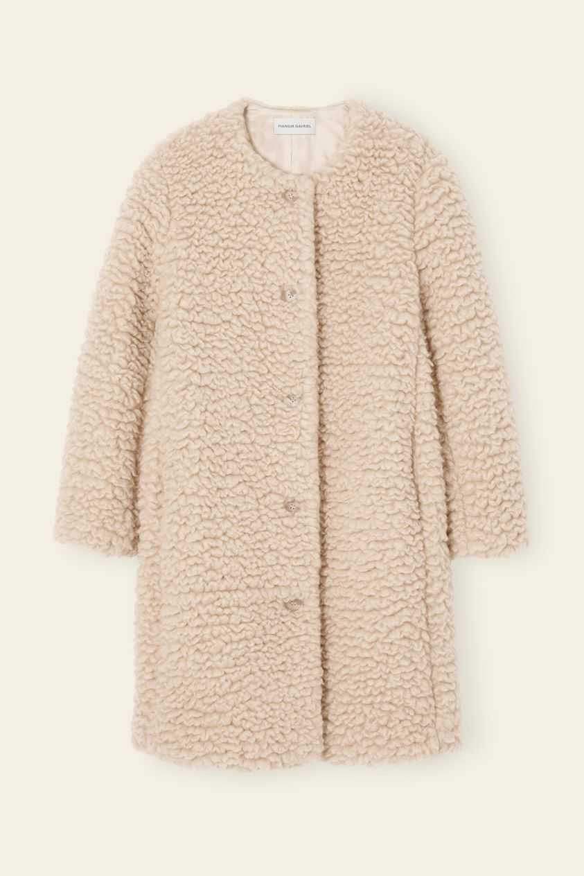 Furry Cashmere Long Collarless Coat - Creme