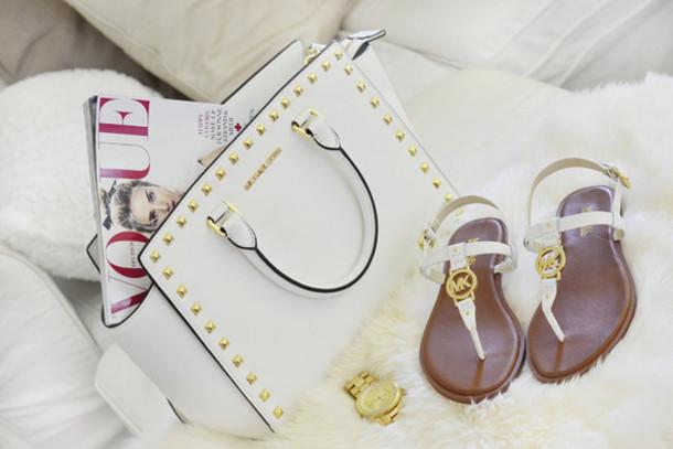 Shoes: michael kors, vogue, bag, white, gold, casio ...