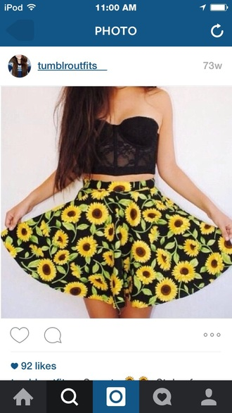 skirt floral sunflower