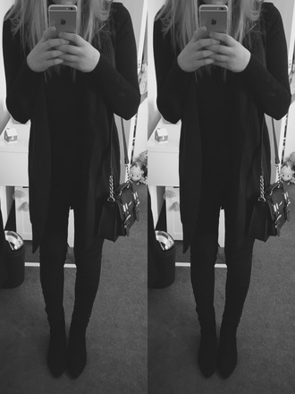 coat long sleeves jeans black jeans harry styles shoes boots high neck black jacket overalls bag river island topshop miss selfridge blonde hair me clothes tumblr outfit cute iphone my daily style oftd comfy streetstyle