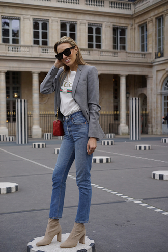 mindbodyswag blogger top jacket jeans shoes bag sunglasses scarf gucci blazer red bag ankle boots spring outfits