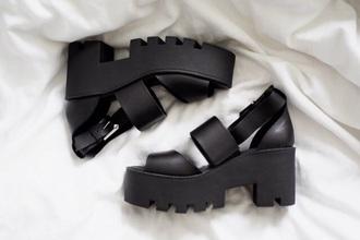 shoes black sandal chunky sandals hipster shoes chunky boots grunge shoes platform shoes platform sandals