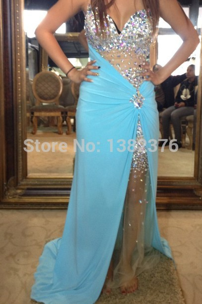 Aliexpress.com : Buy New Amazing Sexy Luxury Rhinestones Prom Dress 2014 Deep Sweetheart Sparkled Nude Bodice Blue Chiffon Formal Gowns Events Dress from Reliable dresses causal suppliers on AngelLover Weddings&Events Dresses Co.,Ltd.