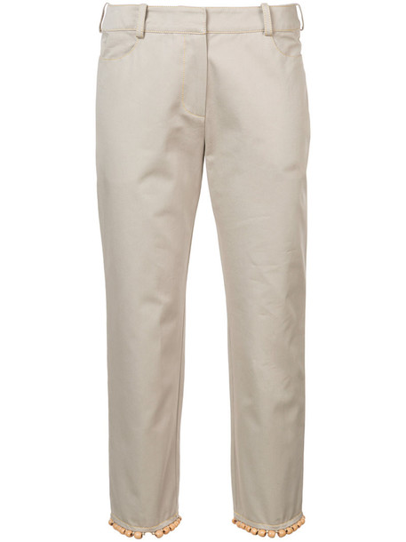 Rosie Assoulin cropped women beaded nude cotton pants