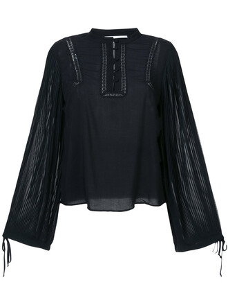 blouse long women black top