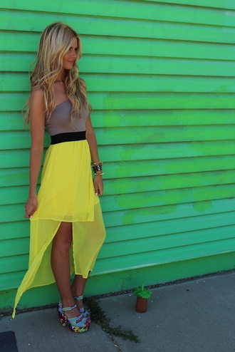 dress spring yellow skirt summer neon bright hi low dresses