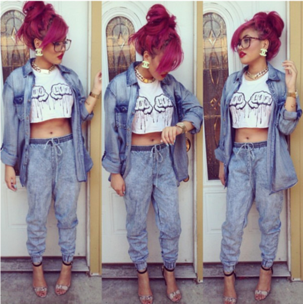 shirt crop tops pants high heels denim shirt glasses jeans harmen pants white black denim jacket crop tops earrings jewelry pink jewels jacket t-shirt dope denim thug life sexy dope pink hair gold blue red lipstick cuffed jeans baggy denim bottoms light washed denim denim jacket