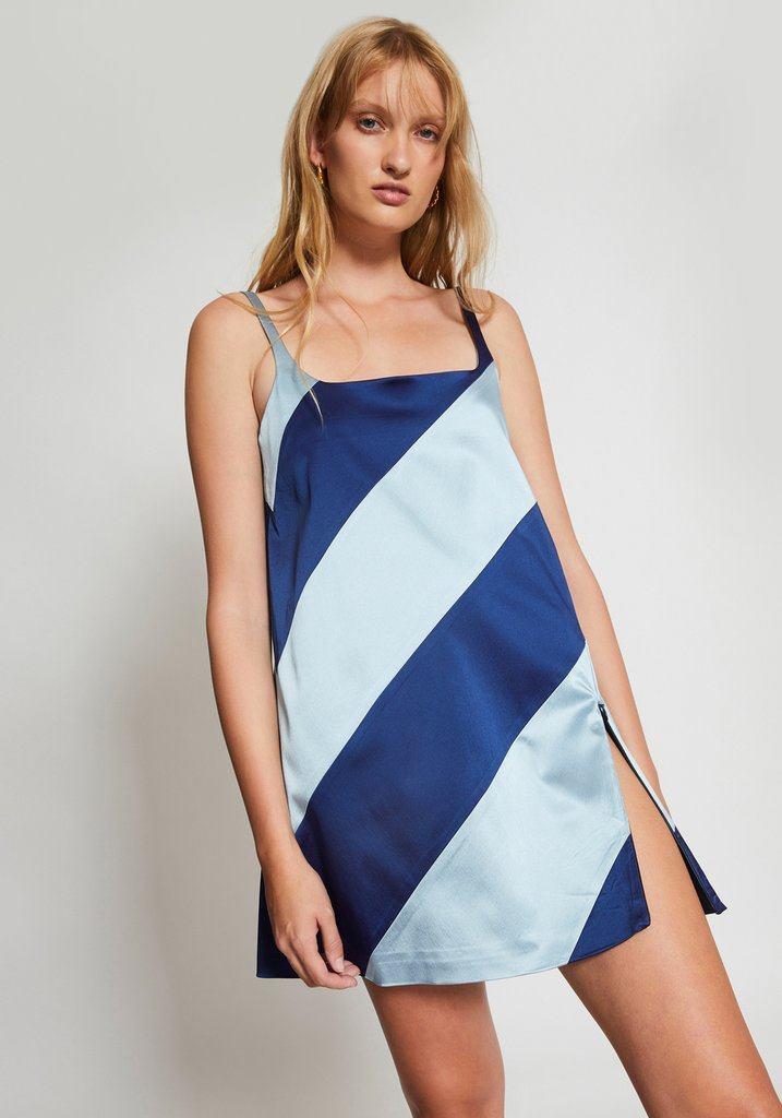 Muted Panelled Slit Dress Blue/Navy