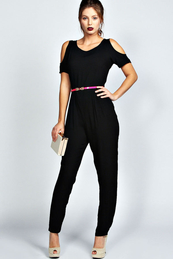 pants black cut out shoulder pink belted long jumpsuit