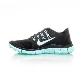nike free run black teal shoes