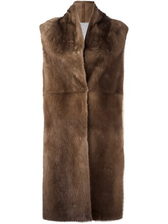 coat sleeveless coat sleeveless fur women brown