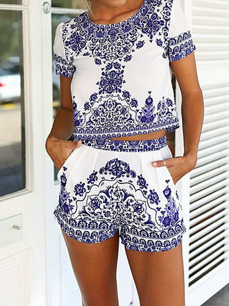 pants women sets blue and white