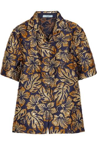 shirt metallic navy top