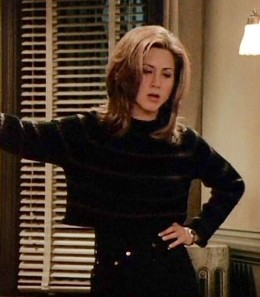 sweater cropped sweater 90s style rachel green vintage jumper tumblr outfit love jeans friends TV show black jeans high waisted jeans