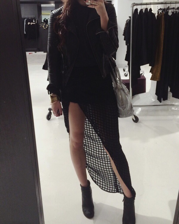 leather jacket black top mesh asymmetrical skirt asymmetrical black boots ankle boots