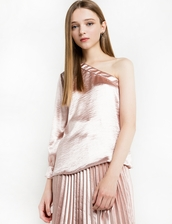 blouse,pale pink satin one shoulder blouse,pink satin blouse,pale pink satin blouse,holiday outfits,one shoulder,blush pink,pastel,pastel pink,classy