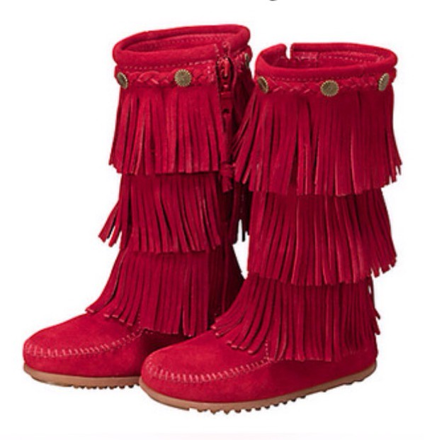 boots fringe shoes red