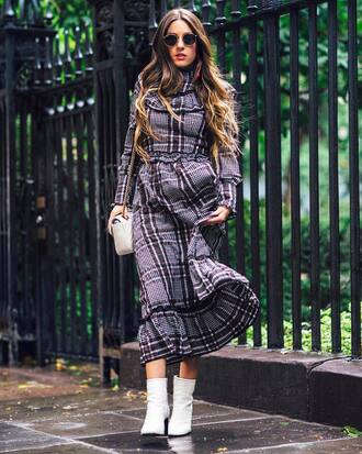 dress grey dress tumblr midi dress fall outfits fall dress plaid dress boots white boots ankle boots long sleeves long sleeve dress