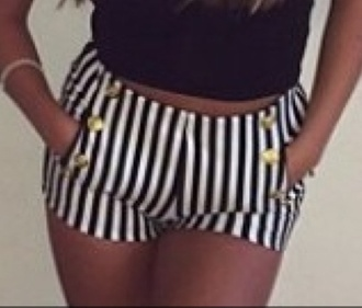 black and white striped shorts high waisted shorts gold buttons