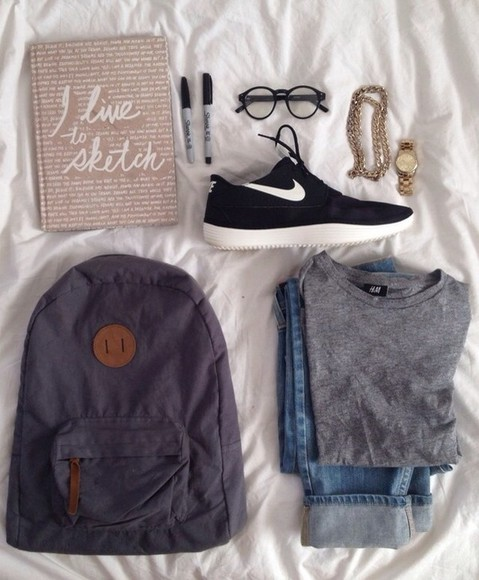 bag backpack black shoes necklace books gold nike