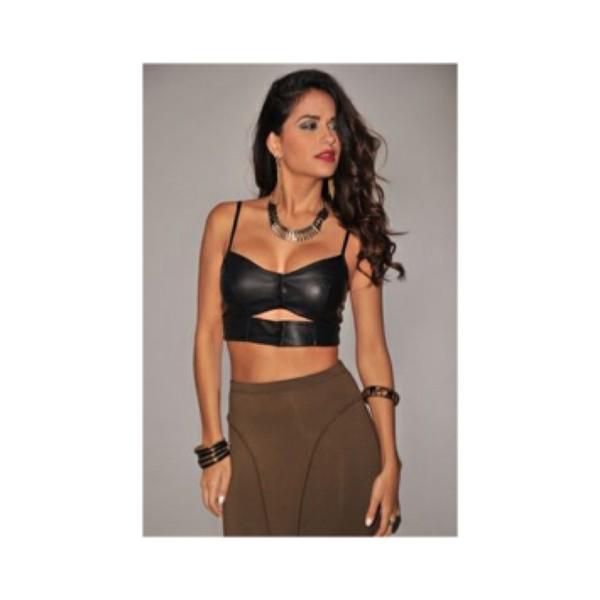 78c042ac3d Nicole Faux Leather Bralette Bikini top