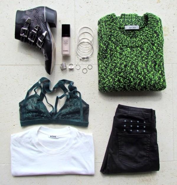 t-shirt green knitwear pants sweater