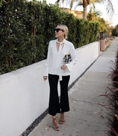 pants,blouse,tumblr,cropped pants,black pants,white blouse,sandals,sandal heels,high heel sandals,sunglasses,work outfits,office outfits,damsel in dior