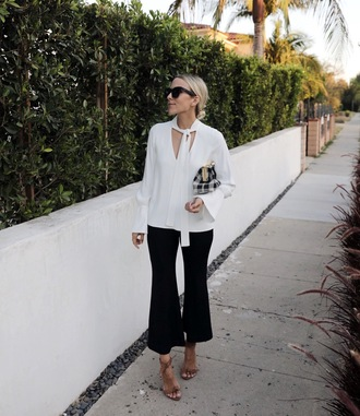 pants blouse tumblr cropped pants black pants white blouse sandals sandal heels high heel sandals sunglasses work outfits office outfits damsel in dior