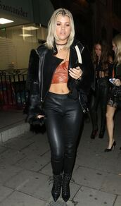 top,leather,jacket,pants,sofia richie,crop tops
